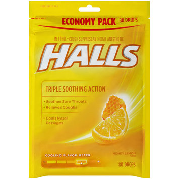 HALLS Honey-Lemon Drops Triple Action