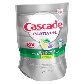 Cascade Platinum ActionPacs Lemon Scent Dishwasher Detergent Pacs 20 Ct