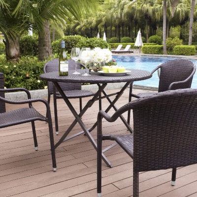 Crosley Palm Harbor 5-Piece Wicker Patio Dining Furniture Set