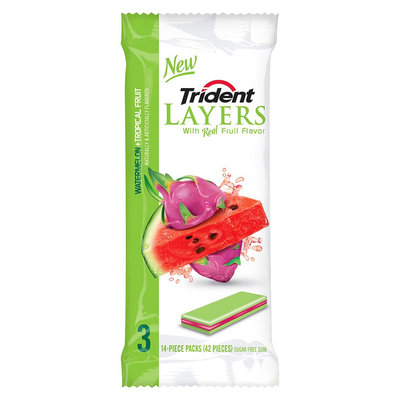 Trident Layers® Watermelon + Tropical Fruit Sugar Free Gum