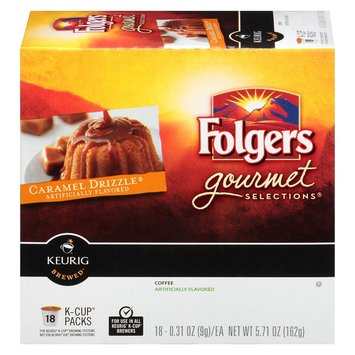 Folgers Gourmet Selections Caramel Drizzle Flavored Coffee K-Cups 18 ct
