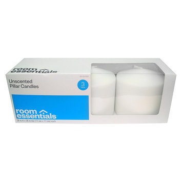 Room Essentials White Unscented Pillar Candles 3ct