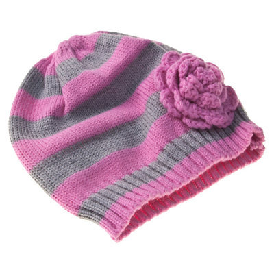 Gimme Flower Beanie, Pink/Gray, 1 ea