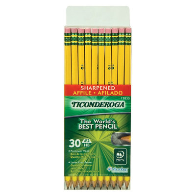Ticonderoga Pre-Sharpened Pencil, HB, #2, Yellow Barrel, 30 Per Pack