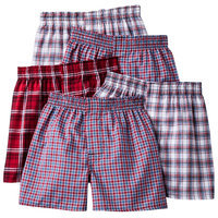 Hanes Boys Plaid Print Boxers - 5 Pack, Assorted