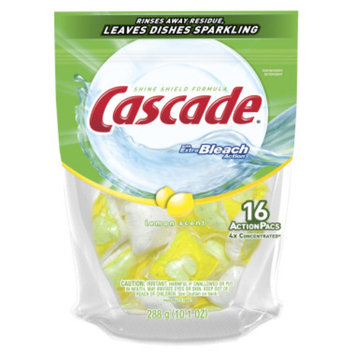 Cascade ActionPacs with Extra Bleach Action Lemon Scent Dishwasher Detergent, 16 ct