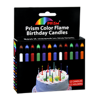 Prism Color Flame Birthday Candles - 12 CT