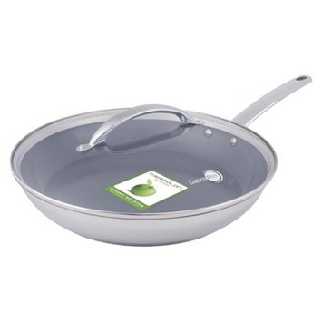 Green Pan 12 in Frypan w lid Miami Stainless Steel
