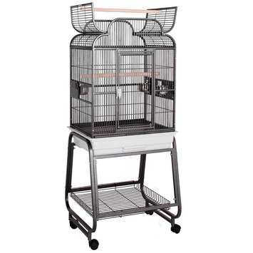 HQ Opening Scrolltop Birdcage with Stand Beige