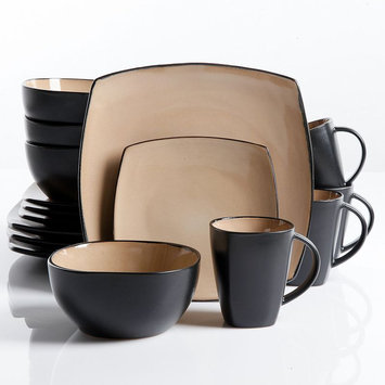 Gibson Soho Lounge 16 Pc Dinnerware, Taupe Square Shape (service For 4)