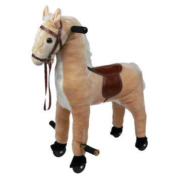 Trademark Global Games Happy Trails Plush Walking Horse with Wheels - Tan