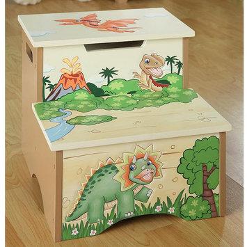 Teamson Kids Childrens Step Stool with Storage - Dinosaur Kingdom Collection - TD-0083