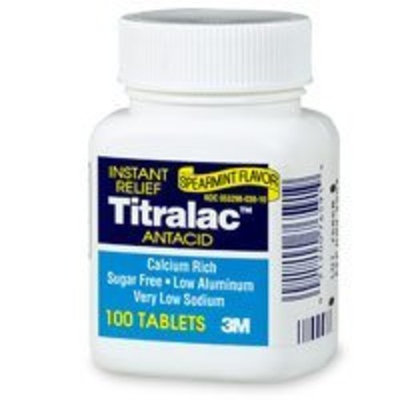 Unknown 3M Fast Relief Titralac Antacid Spearmint Flavor 100 Tablets