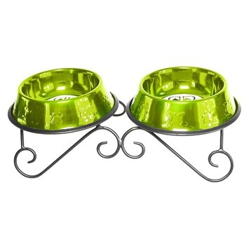 Platinum Pets Scroll Double Feeder with Two Stainless Steel Embossed Non-Tip Bowls - Corona Lime (4 Cup)