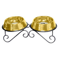 Platinum Pets Scroll Double Feeder with Two Stainless Steel Embossed Non-Tip Bowls - Gold (3 Cup)