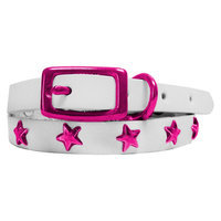 Platinum Pets White Genuine Leather Cat and Puppy Collar with Stars