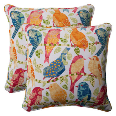 Pillow Perfect Outdoor 2-Piece Square Toss Pillow Set - White/Orange Birds
