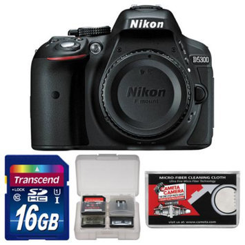 Nikon D5300 Digital SLR Camera Body (Black) - Factory Refurbished with 16GB Card + Accessory Kit