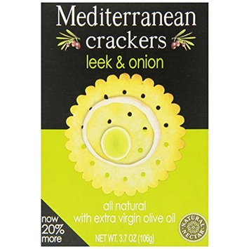 Natural Nectar Mediterranean Crackers, Leek & Onion, 3.7-Ounce Packages (Pack of 12)