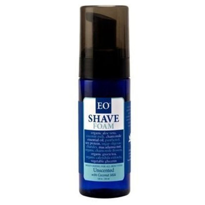 EO Shave Foam Unscented, With Coconut Milk, 5-Ounce Bottles