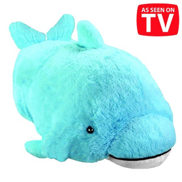 Pillow Pets 18 Inch Folding Stuffed Animal - Squeaky Dolphin