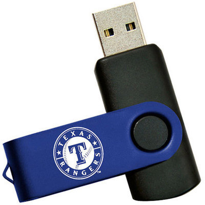 Tribeca Spirit Swivel 4GB USB Flash Drive, Texas Rangers, Medium Blue and Black