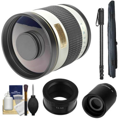 Samyang 500mm f/6.3 Mirror Lens (White) (T Mount) with 2x Teleconverter (=1000mm) + Monopod + Accessory Kit for Samsung NX20, NX200, NX210 & NX1000 Digital Cameras