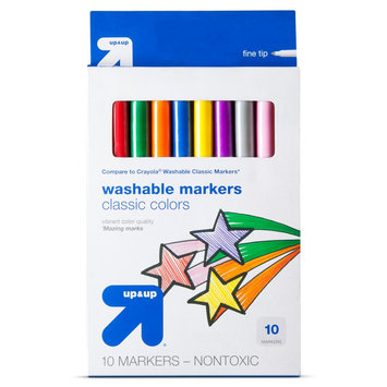 Mega Brands Markers, Fine Tip, Washable, 10ct - up & up