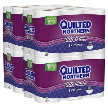 Georgia Pacific Quilted Northern Ultra Plush 3 ply Toilet Paper 48 Double Rolls
