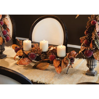 Evergreen Enterprises, Inc Pomegranate 3Light Candle Holder Centerpiece