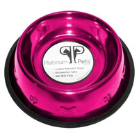 Platinum Pets Stainless Steel Embossed Non-Tip Dog Bowl - Raspberry