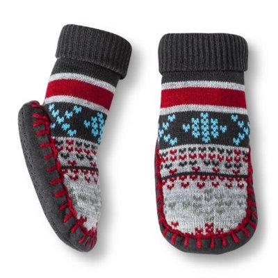 Circo Newborn Toddler Boys' Fair Isle Slipper Sock - Gray/Red 12-24 M