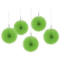 Amscan Lime Green Mini Hanging Fan Decorations (5)