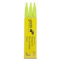 Yoobi 3pk Ballpoint Retractable Pens - Green