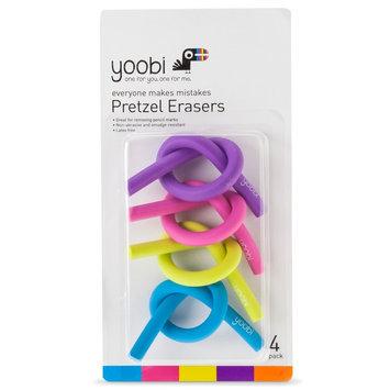 Yoobi 4ct Pretzel Erasers - Multicolor