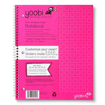 Yoobi Poly Cover College Rule 1 Subject Notebook - Pink