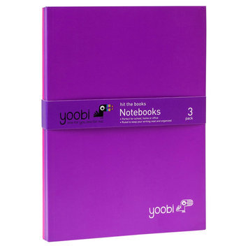 Yoobi 3pk Thin Notebook - Purple/Pink/Purple