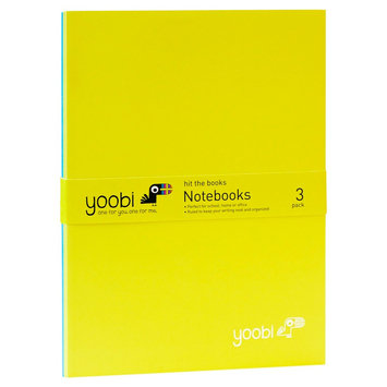 Yoobi 3pk Thin Notebook - Green/Blue/Green