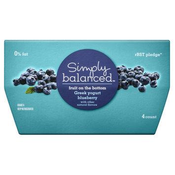 Simply Balanced 0% Fruit on the Bottom Blueberry Greek Yogurt 4 oz 4