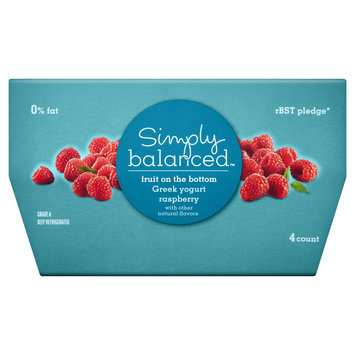 Simply Balanced 0% Fruit on the Bottom Raspberry Greek Yogurt 4 oz 4