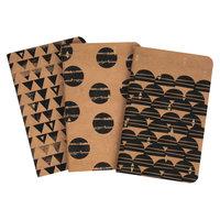 Compendium 3pk Geometric Kraft Pocket Notebook