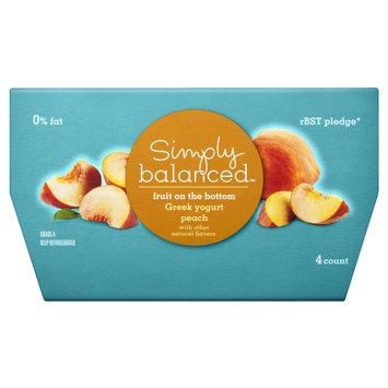 Simply Balanced 0% Fruit on the Bottom Peach Greek Yogurt 4 oz 4 ct