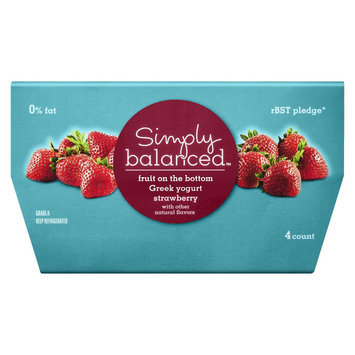 Simply Balanced 0% Fruit on the Bottom Strawberry Greek Yogurt 4 oz 4