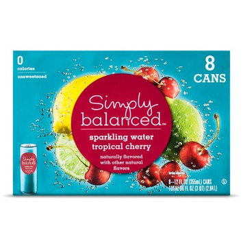 Simply Balanced Sparkling Water Tropical Cherry 8 pk 12 oz