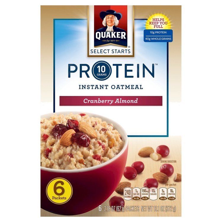 Quaker Instant Oatmeal Protein Cranberry Almond 6 ct
