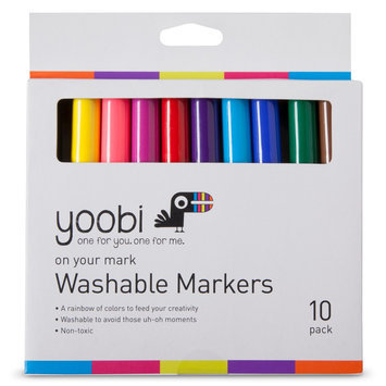 Yoobi 10ct Washable Markers - Multicolor