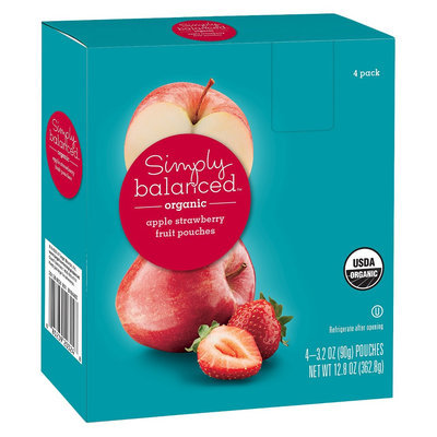 Simply Balanced Organic Apple Strawberry Fruit Pouches 3.2oz 4ct