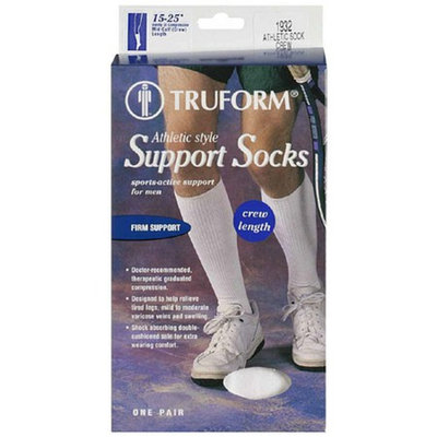 Truform Men's Athletic-Style Crew Length Firm (15-20 mm) Support Socks