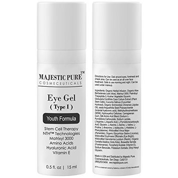 Eye Gel From Majestic Pure Offers Potent Anti Aging & Skin Firming Gel Cream for Dark Circle Eyes, Wrinkles, Eye Puffiness & Loss of Tone and Resilience, Try Risk Free Today! 50ml