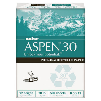 Cascades 054901 Aspen 30% Recycled Office Paper92 Bright 20lb 8-1/2 X 11 White 5000/carton